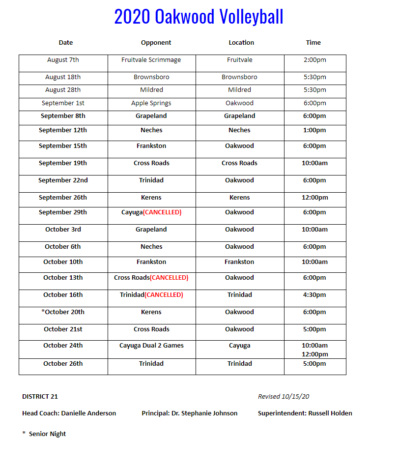 Updated VB Schedule