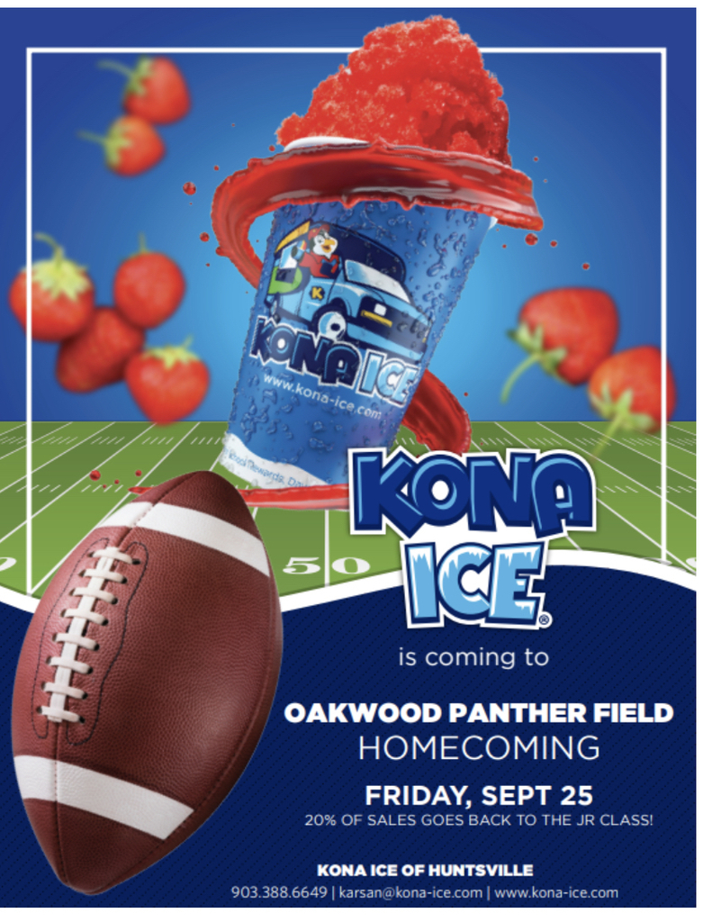 Oakwood Football and Kona Ice! An unstoppable combination!!!